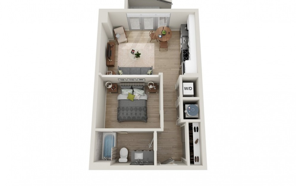 S1A - Studio floorplan layout with 1 bath and 662 square feet.