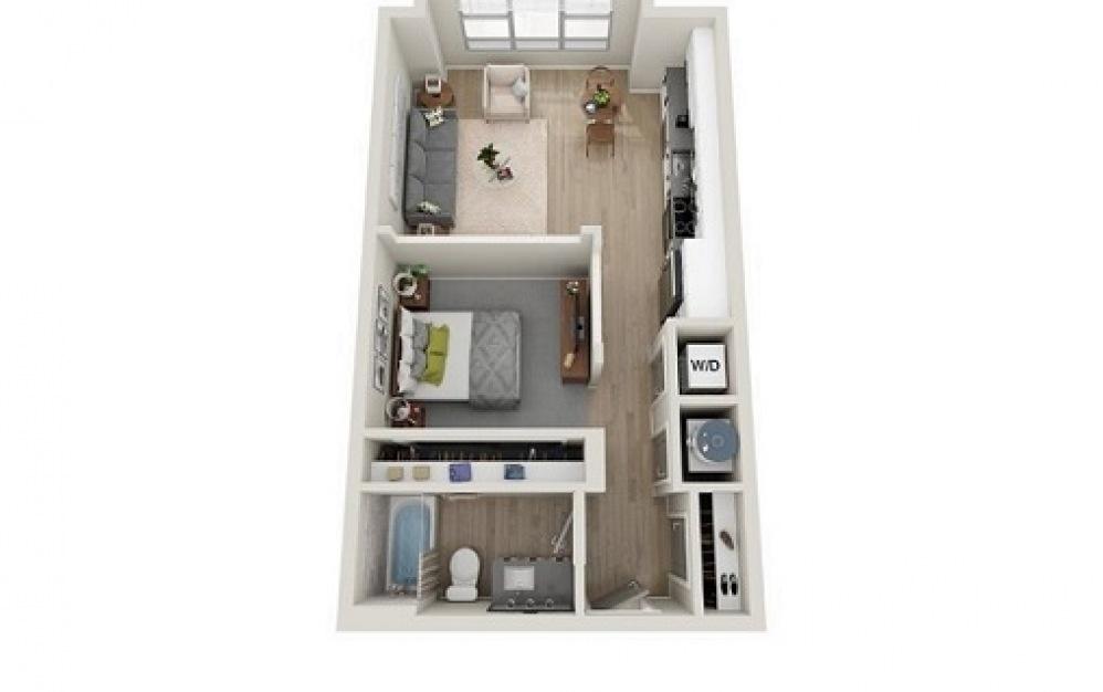 S1C - Studio floorplan layout with 1 bath and 631 square feet.